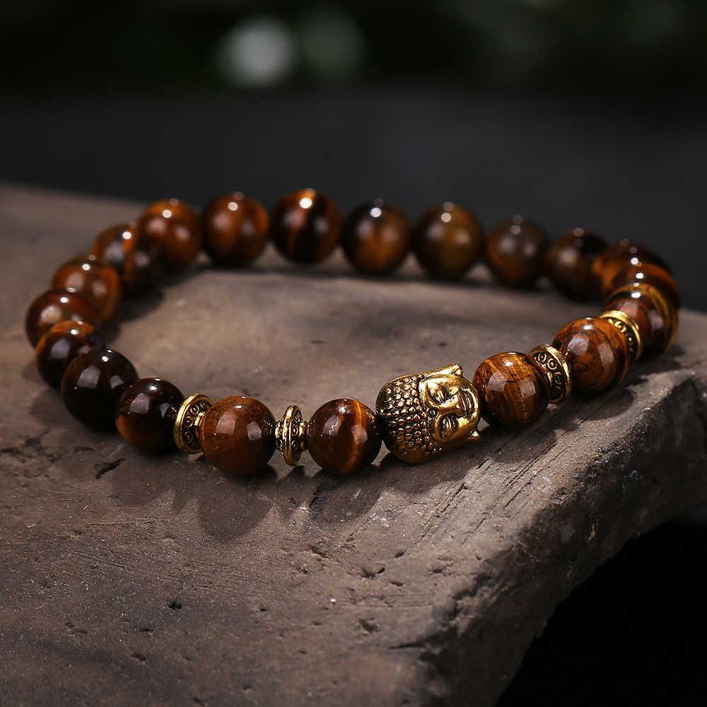 ลูกปัดหินธรรมชาติสีดำ lava หินและสีน้ำตาลลูกปัด healing balance ทองพระพุทธรูปโยคะกำไลข้อมือผู้ชายและผู้หญิงเครื่องประดับ