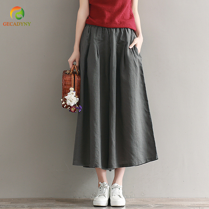 Wide     Leg     Pants   Women Cotton Linen Big Pockets Solid   Wide     Leg     Pants   Large Size Trousers Elastic Waist Capris Skirt   Pants   Female