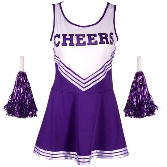 High School Girl Uniform Glee Cheerleader Dress Fancy Costume Cheerleader Outfit Pom Poms Size S-XL