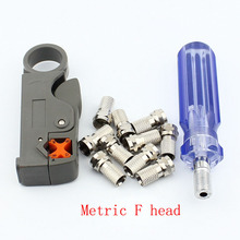 5pcs Cable TV F head line tool Squeeze F head 75-5 stripping knife 10 metric F head booster f head cable tv connector do line tools extruding wire stripping knife with 10 inch booster for f head