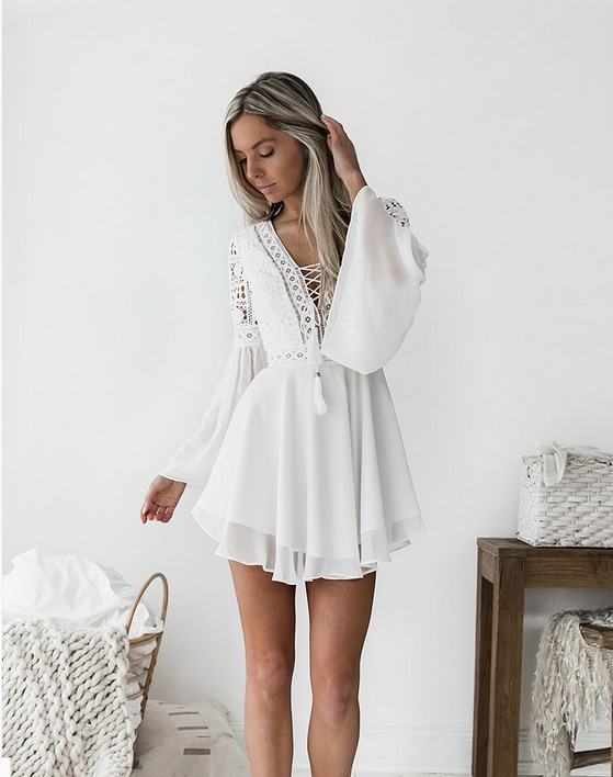 White Summer Bohemian Mini Dress Women Fashion Spring Solid White Mini Lace Casual Clothes V-neck Long Sleeve Dresses