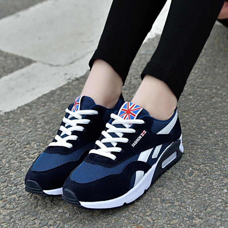 2018 אופנה נשים מגופר נעלי קיץ סניקרס גבירותיי שרוכים נעליים יומיומיות לנשימה הליכה בד נעלי נשים נעליים שטוחות