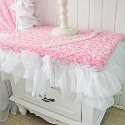 Pink Table Cloth : Princess pink rose tablecloth goatswool bedside table cover cabinet ...