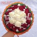 Europeus e americanos noivas segurando flores flores do casamento ornamento pérola Bouquet do casamento da fita De Novia nupcial BouquetsYJ18