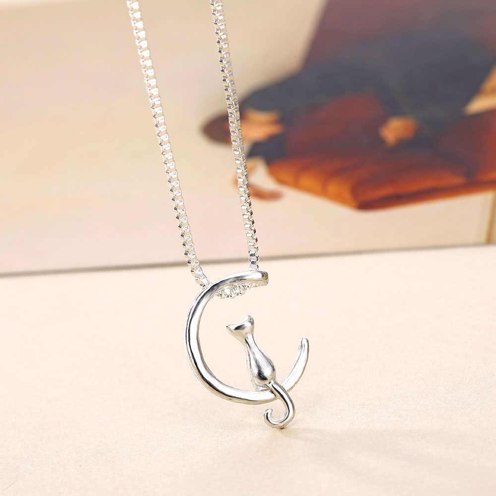 VKME ожерелье Прямая доставка новые золотые и серебряные Луна кошка сплав кулон на цепочке для носки на ключицах ожерелье, оптовая продажа Украшений