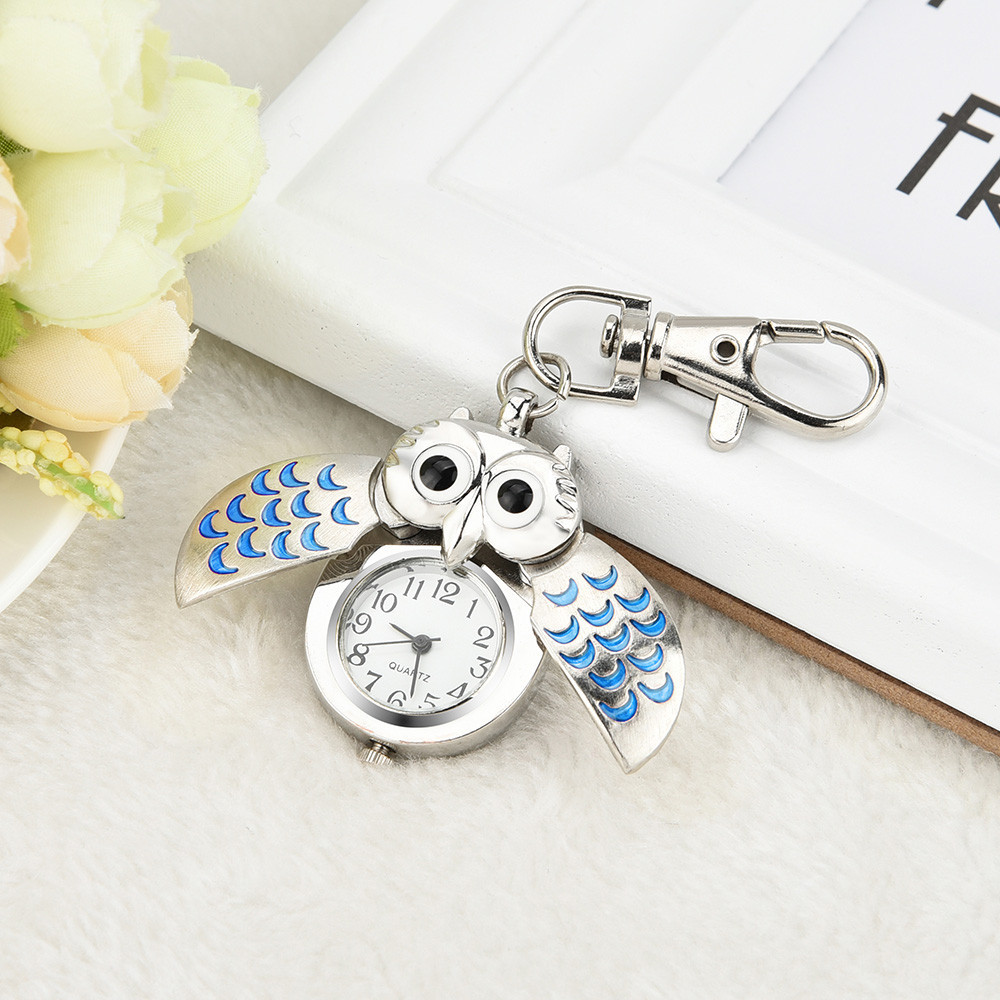 Stylish Lovely Cute Key Watches New Fashion Gorgeous Owl Watch Clip Pocket Keychain Clocks Reloj De Bolsillo Free Shipping A60