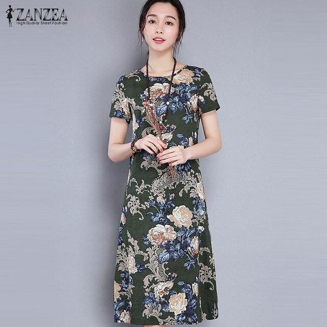 Zanzea Women Short Sleeve Mid Length Dress Casual O Neck Print Loose