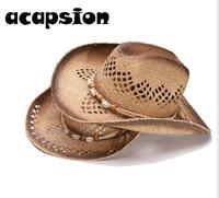 Acapsion Summer Straw Cowboy Hat Men Women Weave Cowboy Hats Party Costume Western Hat Chapeu Sombrero Hombre Lifeguard Hats