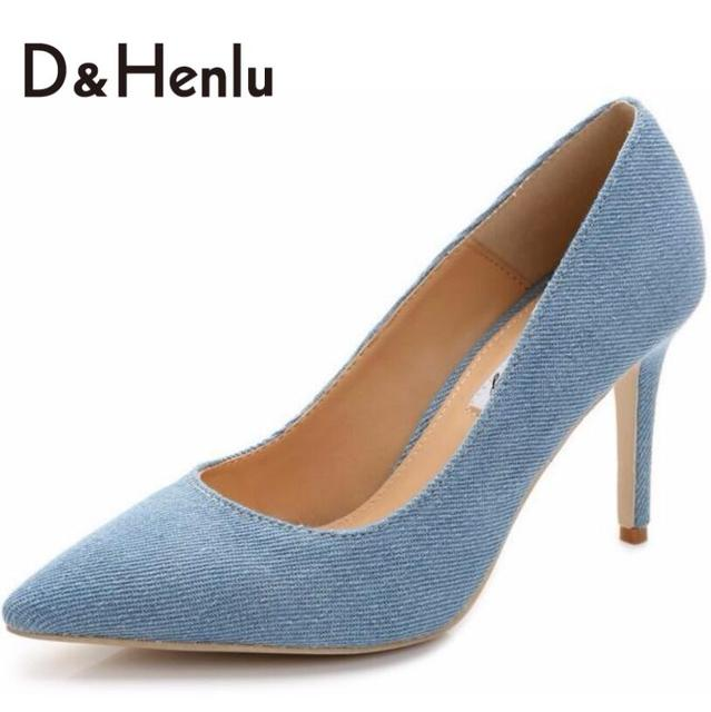 {D&H}Big Size34-43 2016 New Fashion Lady Denim Pumps Women Point Toe High Heels Shoes Woman
