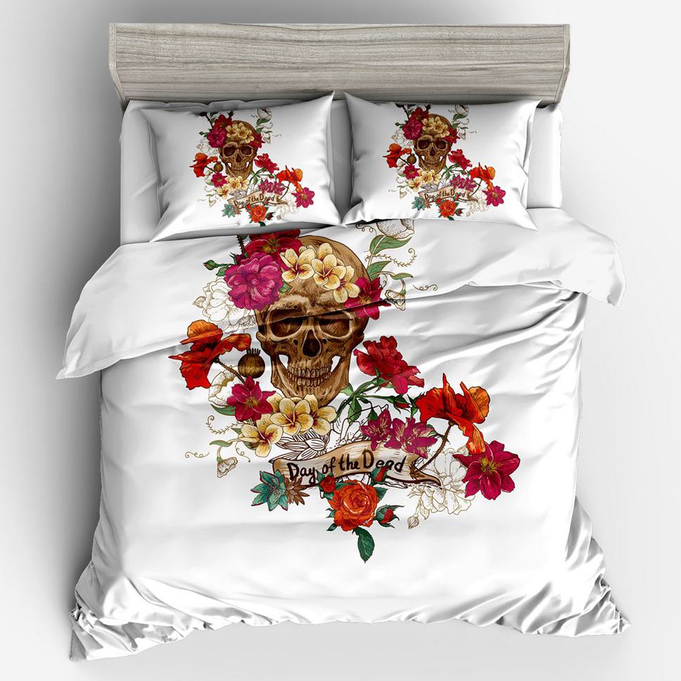 Red Floral Skull 3d Bedding Duvet Cover Set Twin Full Queen King Size 1 Quilt Cover 2 Pillowcase Comfortable,Breathable and Soft