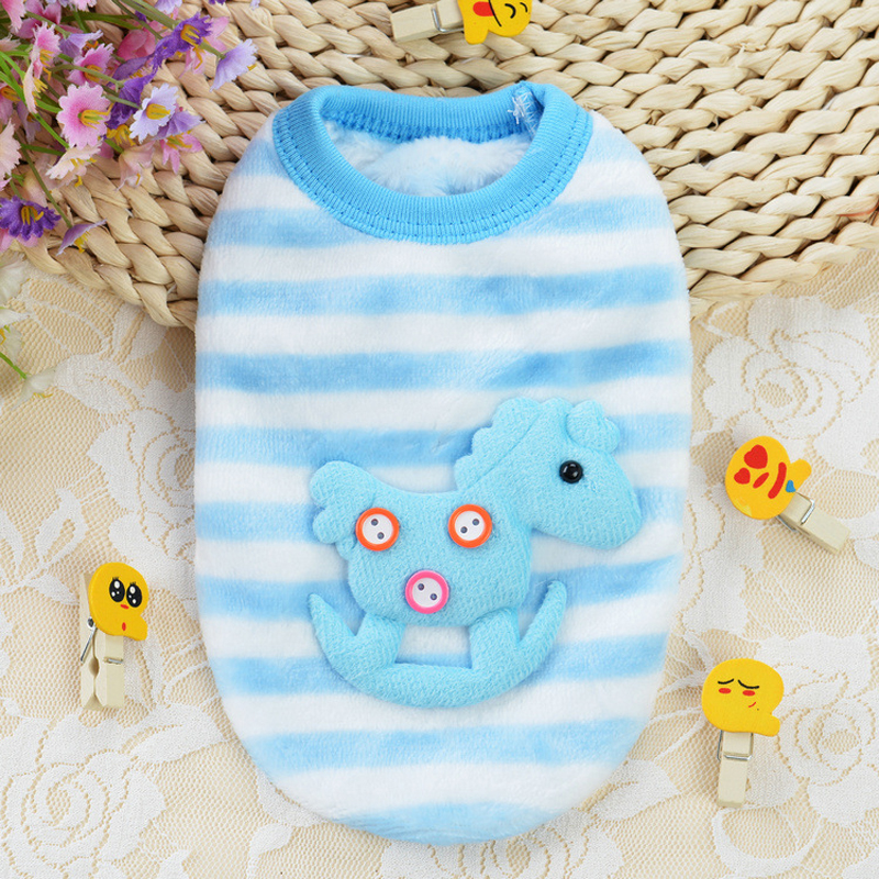 New Blue White Striped Cute Trojan Horse Sweater Baby Pet Clothes Dog Clothing Puppy Sweaters