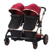 Близнецы Детские коляски 3 в 1 двойной Применение Детские коляски красный свет легкий складной зонт Детские близнецы коляска для путешестви