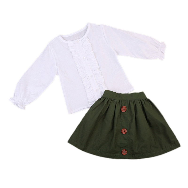 Toddler Kids Baby Girls Clothing Set Tops Princess White Long Sleeve Blouse Skirt Girl Outfit OL Clothes 1-5T 2pcs Lovely the daily village perfect canada white skirt turquoise barely there tops wear hollywood miss picture universe panache bikini
