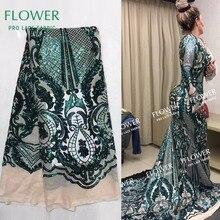 Африканский дизайн с блестками кружевная сетчатая ткань для женщин вечернее блестящее свадебное платье Зеленый индийский Тюль Гипюр кружево с блестками
