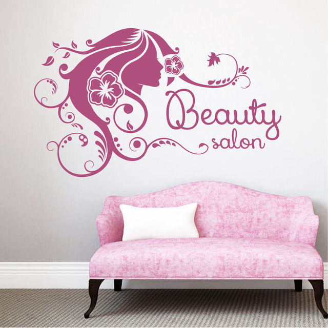 Beauty Salon Sign Vinyl Wall Decal Hair Sex Girl Hairdressing Flower Mural Art
