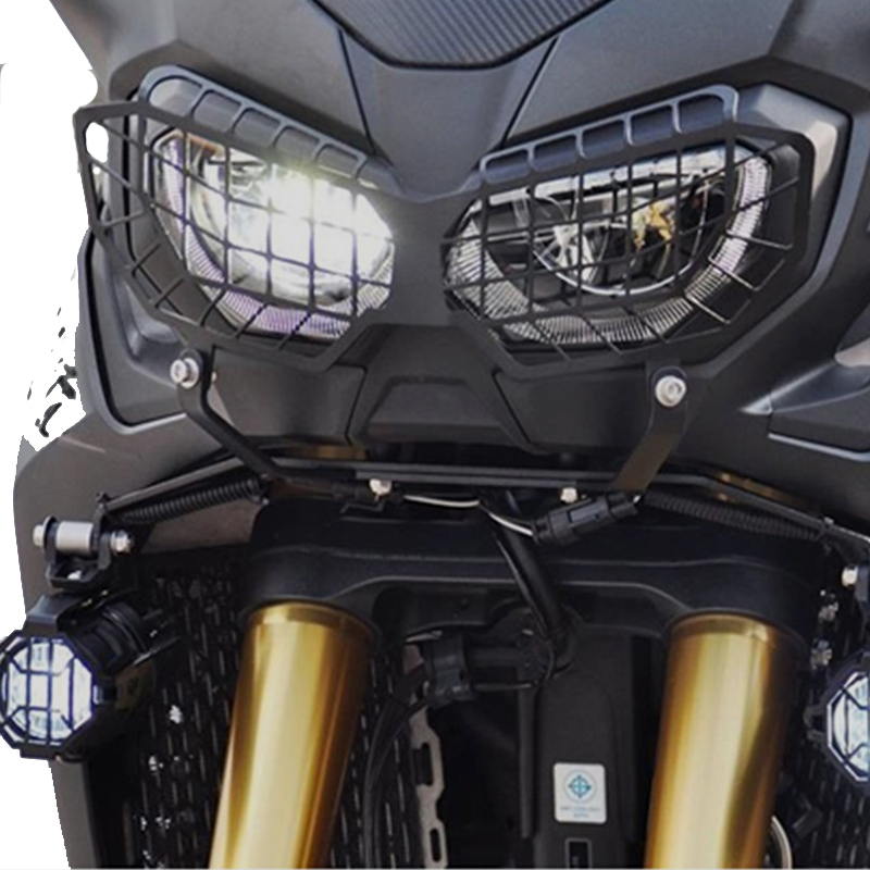 KEMiMOTO for Honda Africa Twin CRF1000L Motorcycle Headlight Lens Guard Protector 2016 CRF 1000L Africa Twin protection cute smile faces high visibility
