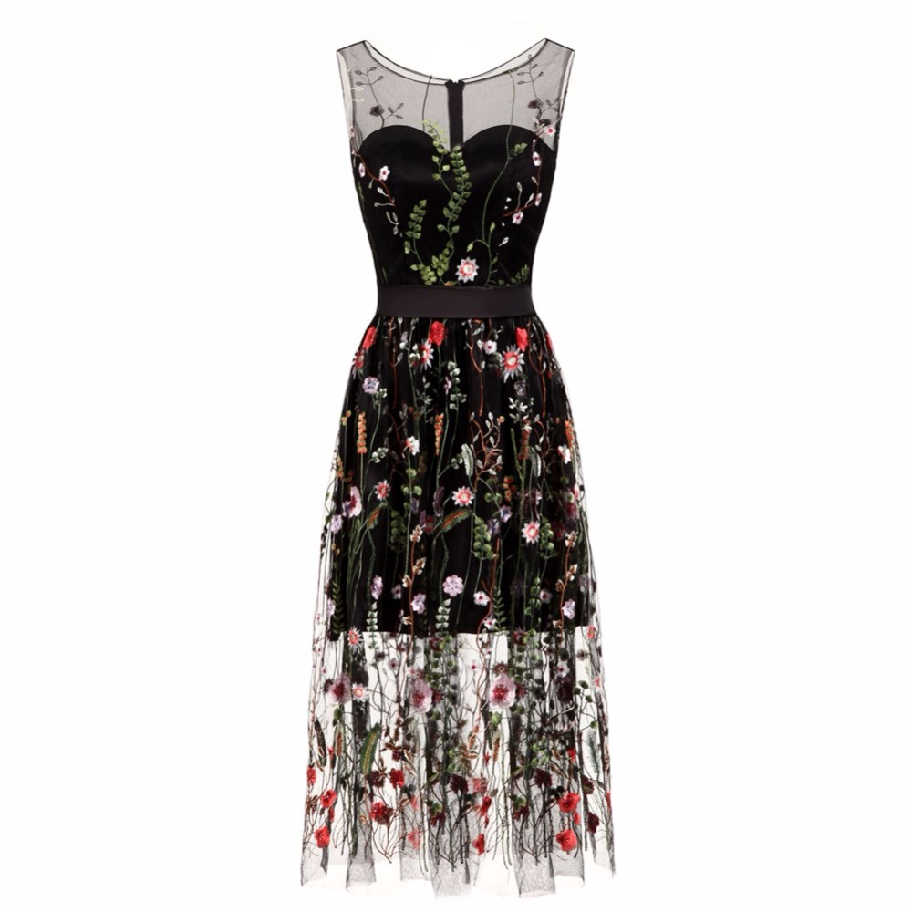 Fishday Evening Gowns Dresses Embroidery Flowers Black See Through ...