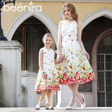 Family Matching Outfits Girl Dresses Mother Or Daughter Sleeveless Party Dress Flower Petal Print European and American Style(China)