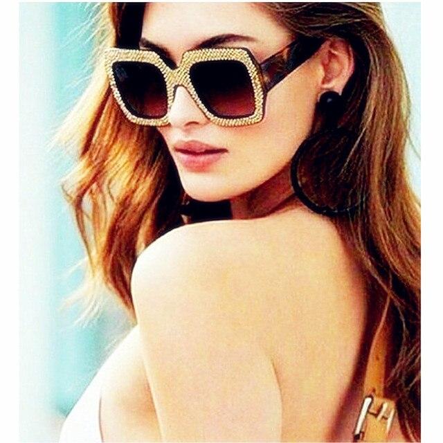 CURTAIN Oculos Feminino Spectacles Trendy Big Imitation Diamond Sunglasses Square Fashion Street Shot Personality Sun Glasses