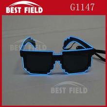 8 бит пиксельный светильник el wire led мигающие очки-мозаика EDM EDC Rave вечерние очки для глаз Аксессуары Солнцезащитные очки