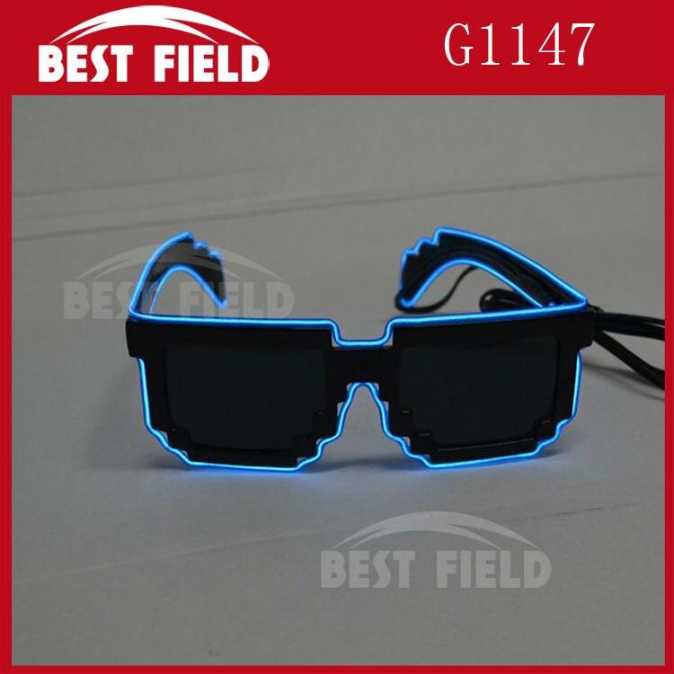 Free shipping 8 bit pixel light up el wire led flashing mosaic glasses EDM EDC Rave Party Bar Eyeswear Accessory Sunglasses
