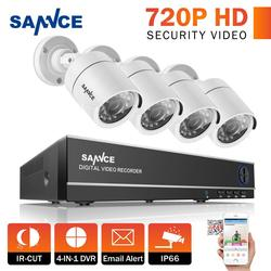 SANNCE 4CH Security Camera System Home Video Surveillance Kit 1080N HDMI Output DVR 720P CCTV DVR Kit 720P 4PCS 1.0MP Camera