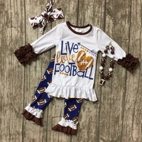 Live love Football clothes Fall suit baby girls brown navy boutique pant ruffle arrow long sleeves heart with matching accessory