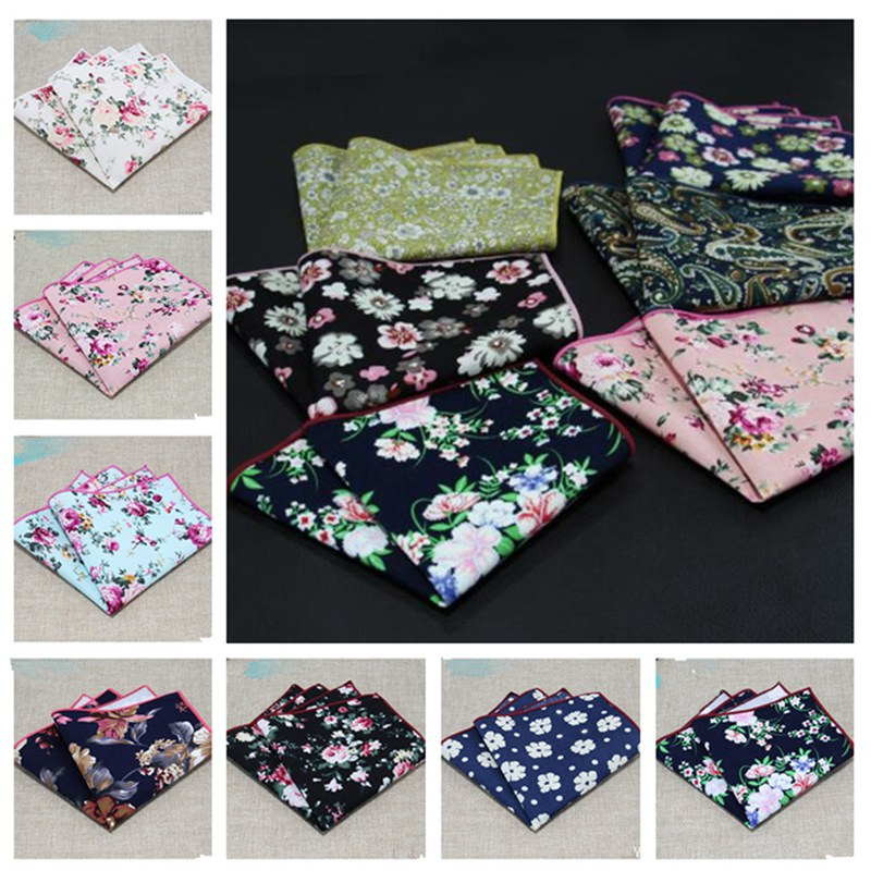 1pcs Men Stylish Floral Cotton Handkerchief Casual Suit Accessories Wedding Pocket Towel Small Square Hot QLY9534
