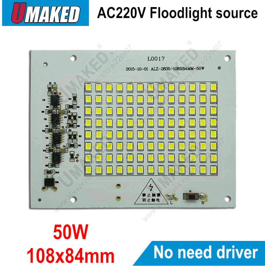 Real watt 50W 108x84mm AC 220V PCB smd geïntegreerde IC driver, PCB Geen behoefte driver, driverless printplaat direct naar ac 220v