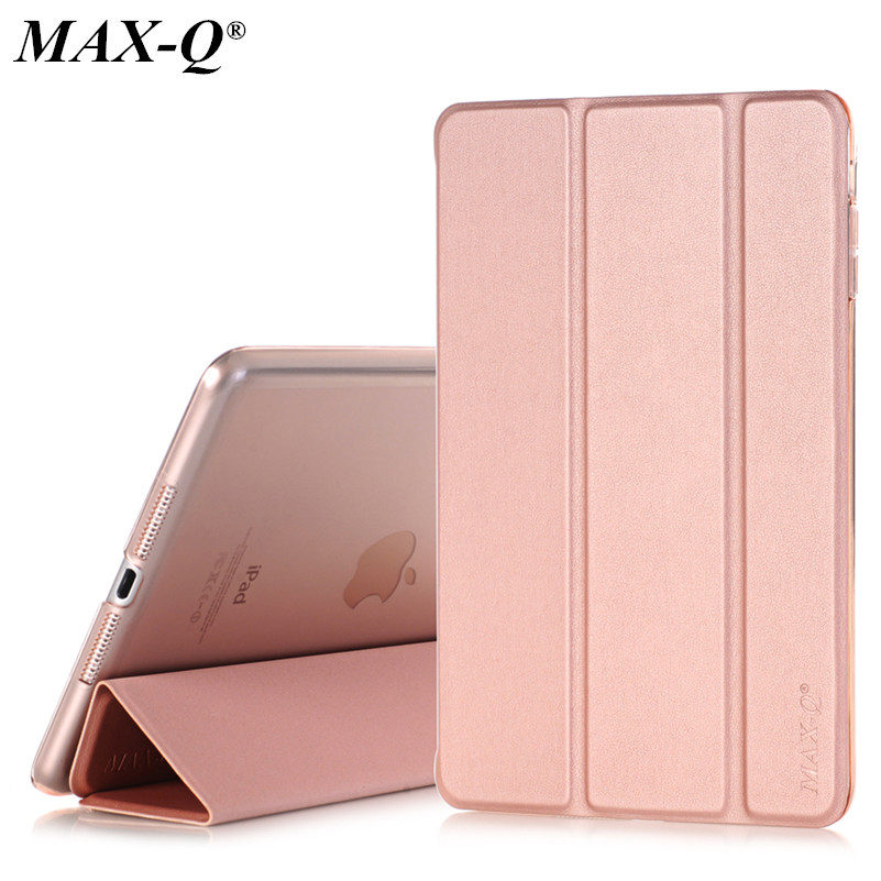 Case for Apple iPad mini 1/2/3, MAX-Q Color PU Transparent Back Ultra Slim Light Weight Trifold Smart Cover Case for iPad Mini 2