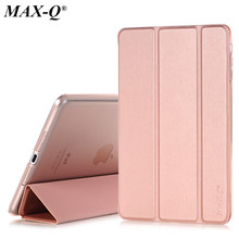 Case for Apple iPad mini 1/2/3, MAX-Q Color PU Transparent Back Ultra Slim Light Weight Trifold Smart Cover Case for iPad Mini 2(China)