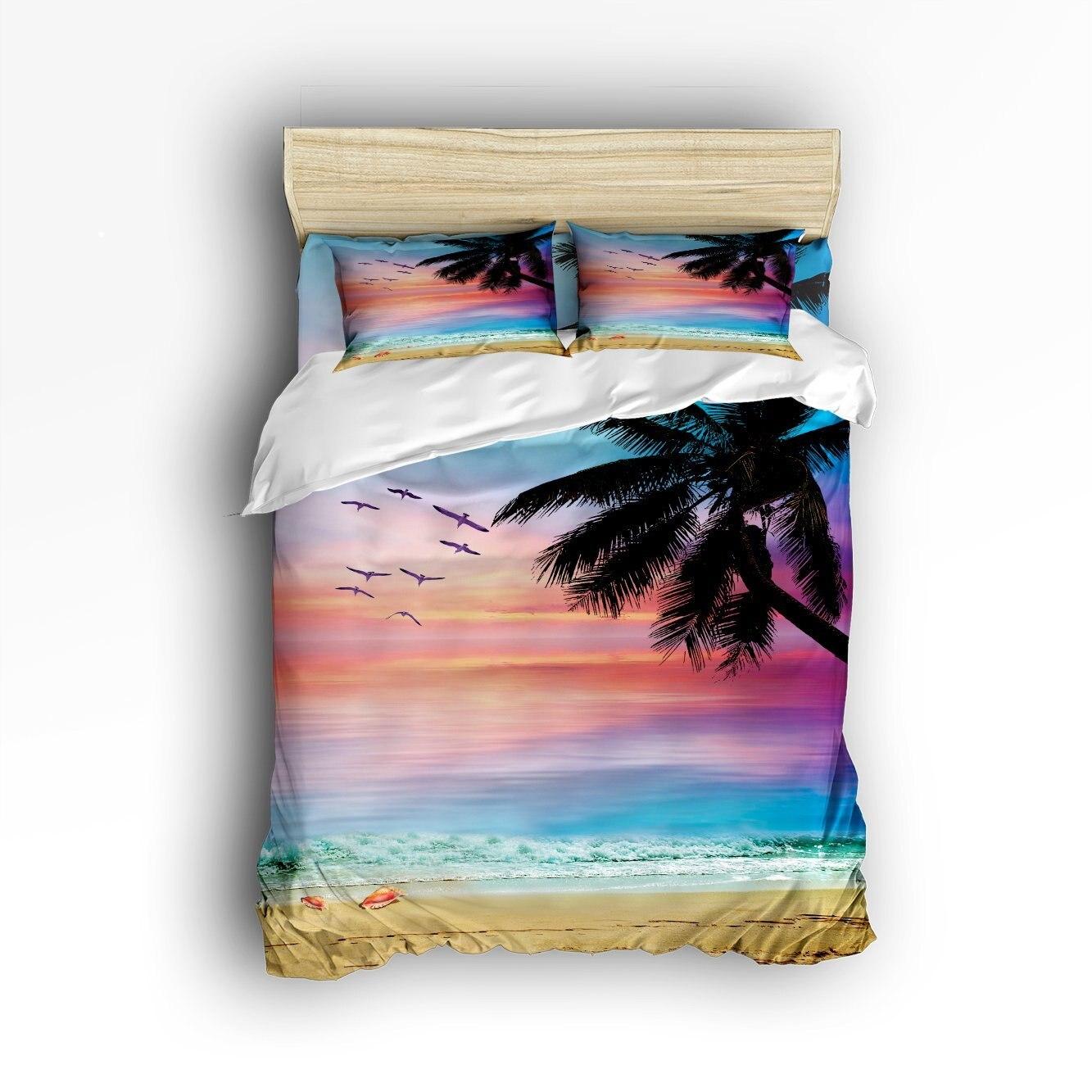 Queen Size Bedding Set- Coconut Trees Tropical Beach Sunset Duvet Cover Set Bedspread For Children/Kids/Teens/Adults, 4 Piece