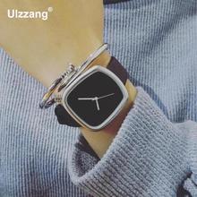 Elegante de La Vendimia Nueva Marca Square Dial Relojes de Pulsera de Cuero Reloj de pulsera para Hombres de Las Mujeres de Dropshipping 1 unid Al Por Mayor