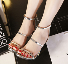 Classic thin strip of sexy leather patent leather zipper high-heeled shoes with fine decorative belt sandals
