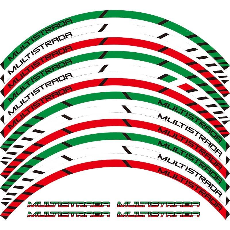 For All DUCATI MULTISTRADA 1260 1200 1200s 12 X Thick Edge Outer Rim Sticker Stripe Wheel Decals