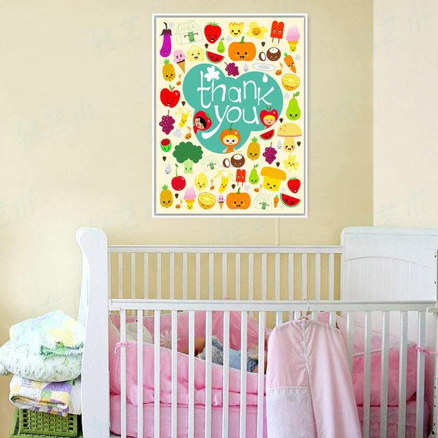 Kids Room Decor Painting Canvas Colorful Cartoon Fruits Vegetables ...