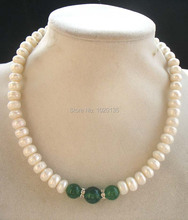 freshwater pearl white roundel 8-10mm green agates stone beads necklace 17inch nature FPPJ