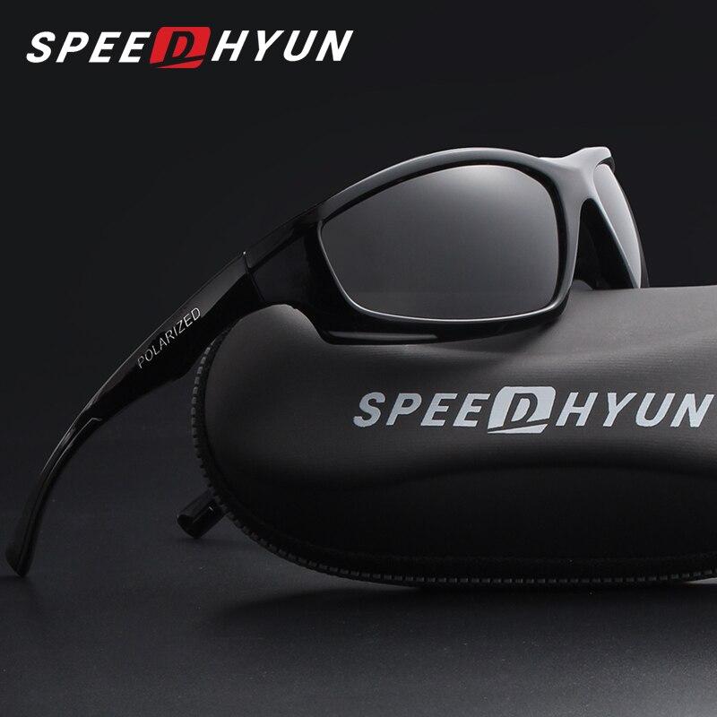 b2e4cafef1 Speedhyun clásico cuadrado negro polarizadas Gafas de sol hombres moda  conducción Pesca hombre gafas Sol Gafas