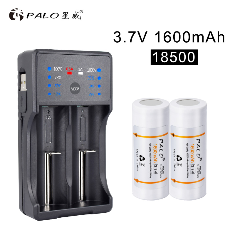 PALO 18500 Batterie 3,7 v 1600 mah Akku 18500 Bateria Recarregavel Lithium li-ion Batteies Baterias mit ladegerät