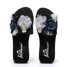 6CM Heel Height Flower Women Wedges Slides Pearl High Heels Outside Beach Shoes Handmade Slippers