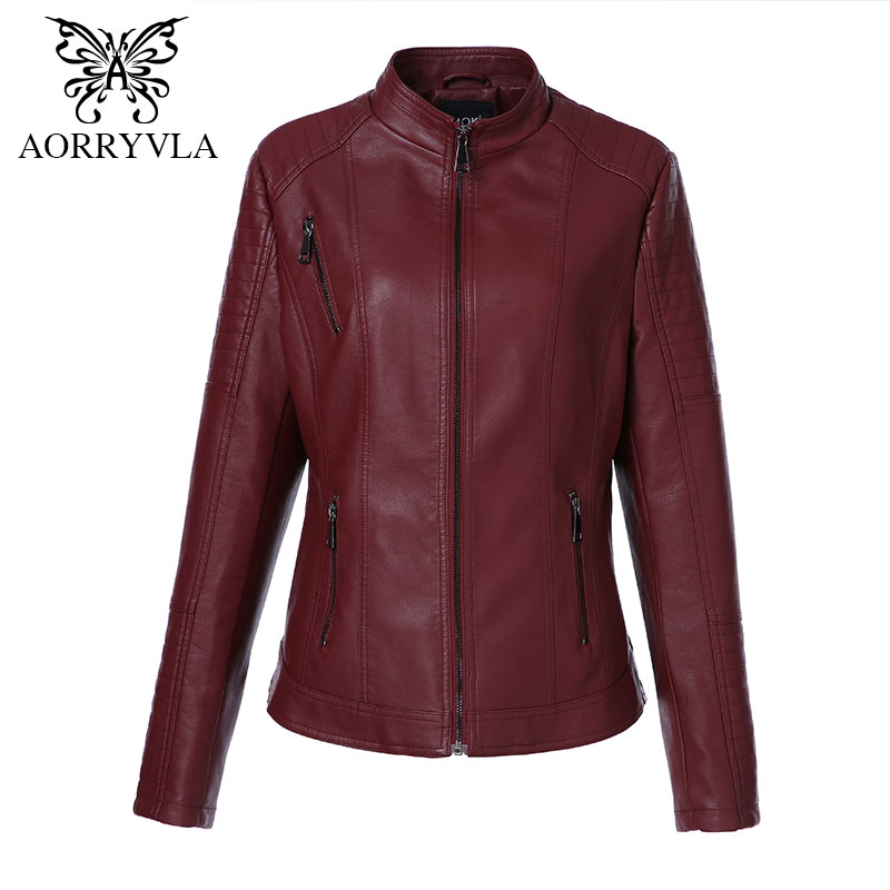 AORRYVLA 2019 Plus Size Women's Washed PU Leather Jacket Short Full Sleeve Mandarin Collar Zipper Regular Lady Basic Jacket