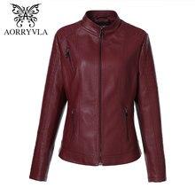 AORRYVLA бренд Для женщин кожаные пальто плюс Размеры 2018 Демисезонный длинный рукав воротник-стойка на молнии регулярные Босоножки из искусственной pu кожи