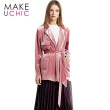 Makeuchic одежда однотонные розовые Для женщин пальто пиджак уличная Винтаж женский пиджак Повседневное свободные галстук талии блейзер для дам