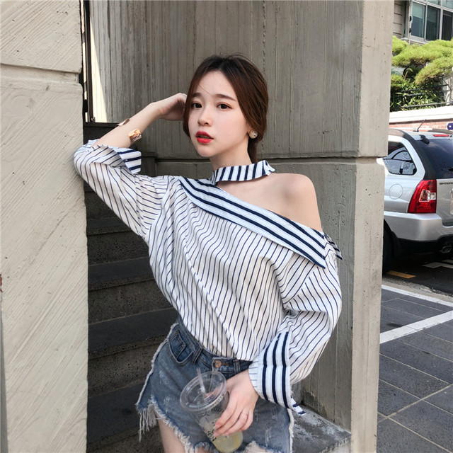 836b175ebb6a Long Sleeve Shirt Women Spring 2019 Korean Fashion Loose Halter Off Shoulder  Striped Blouse One Shoulder