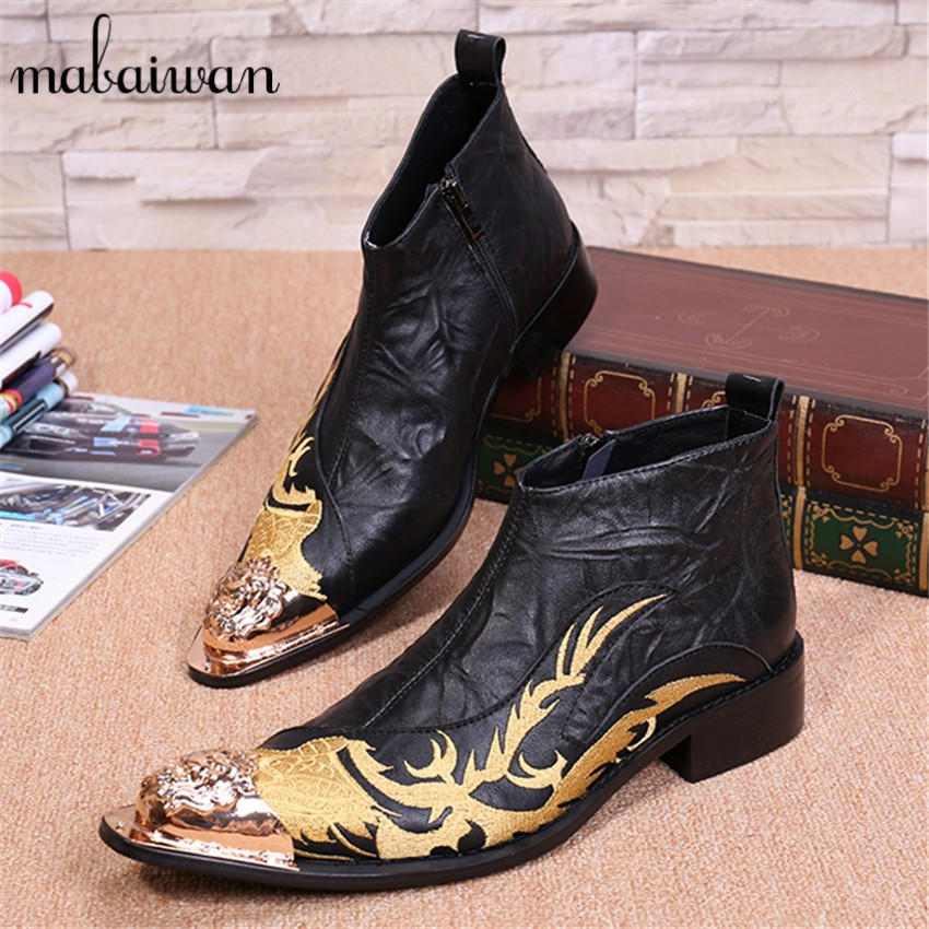 Dragon Embroidery Men Genuine Leather Ankle font b Boots b font Metal Pointed Toe font b