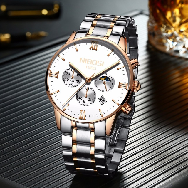 Rose Gold/Silver  Men's  Luxury New Military Quartz Wristwatch  4