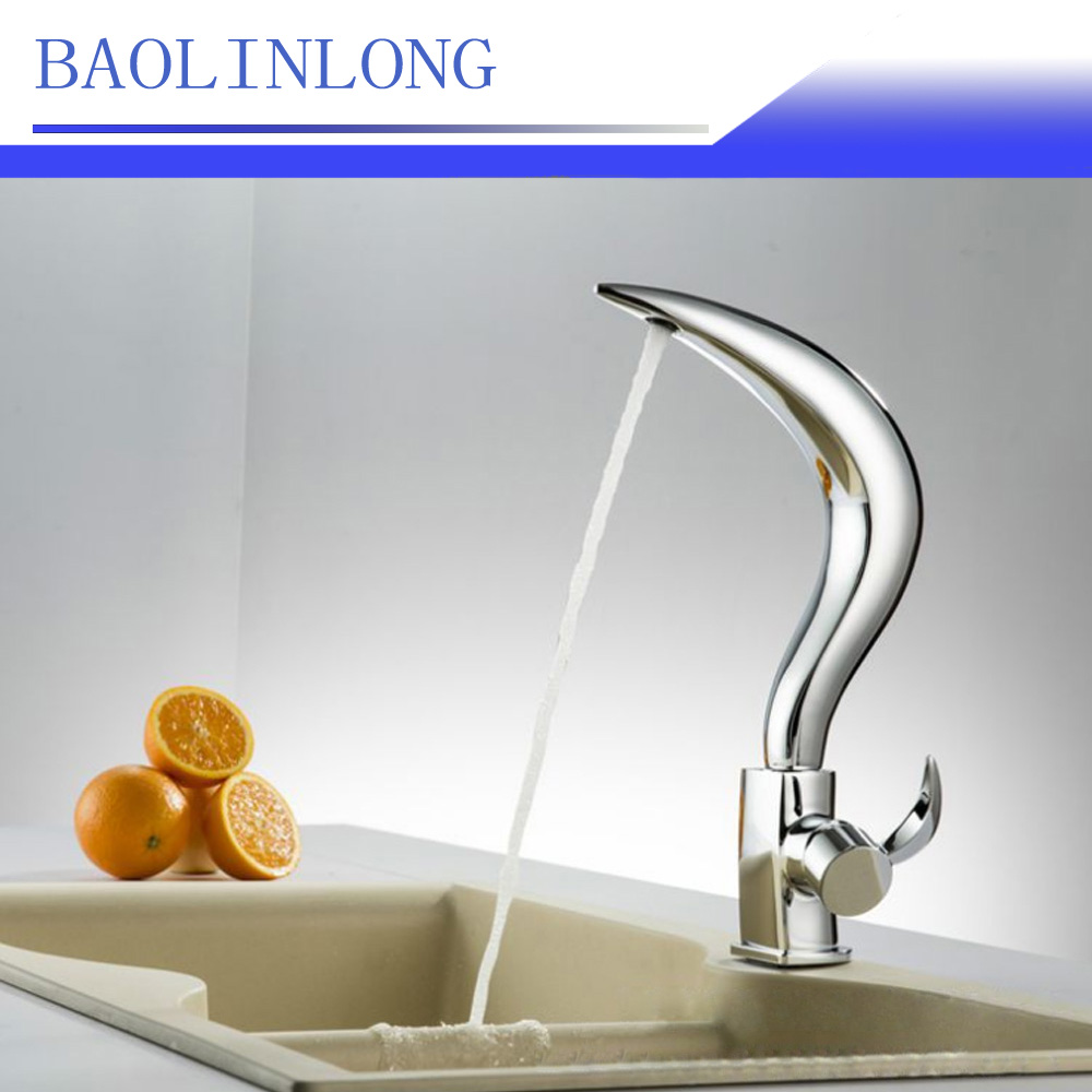 BAOLINLONG News Style Brass Deck Mount Bathroom Faucets Vanity Vessel Sinks Mixer Basin  ...