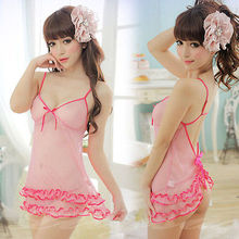 Sexy Lingerie Crystal Pink Babydoll Chemise Ruffled Dress Nightie XS S M / 4-10