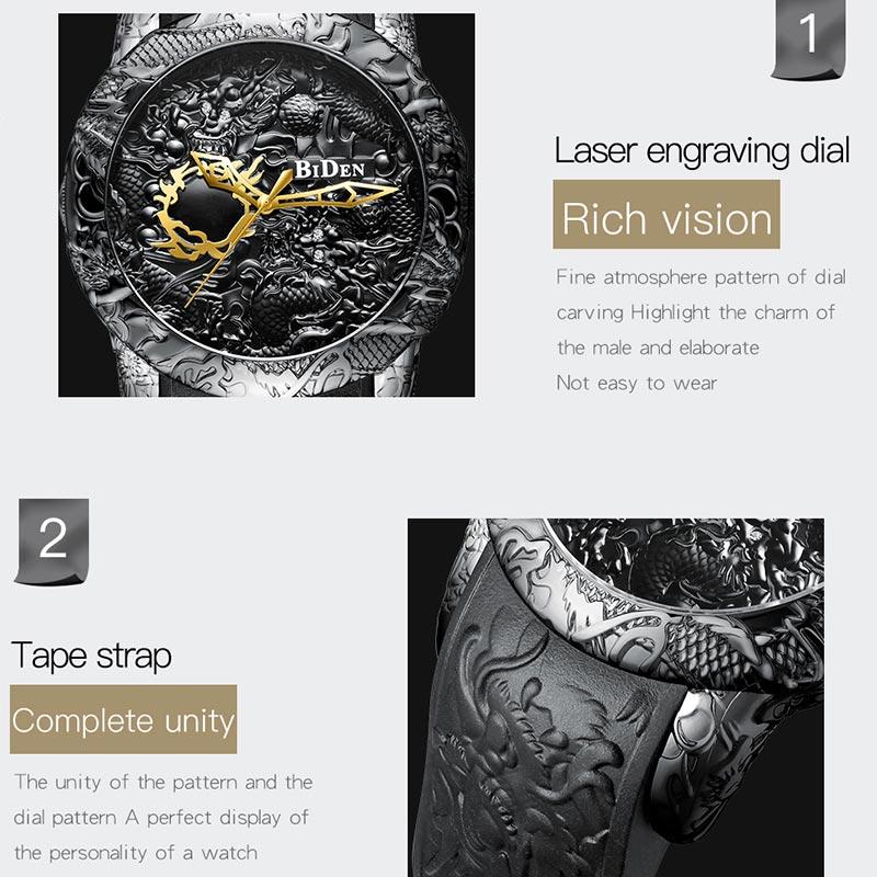 Black Men Watches Fashion 3D Engraved Dragon Relogio Masculino Luxury 2018 Top Brand Quartz Watch Waterproof Sport Male Clock Multan