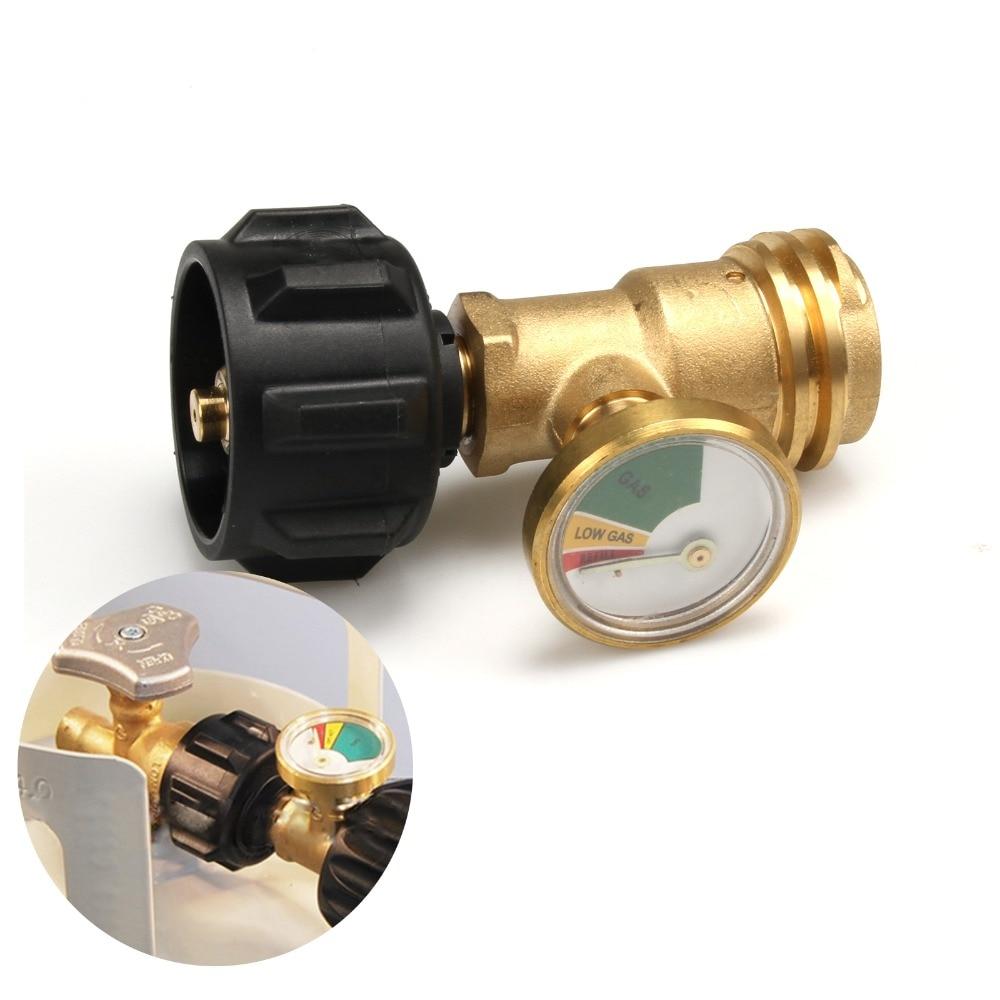 Propane LP Tank Gauge Gas Grill BBQ RV Pressure Adapter Meter Brass 4 Master
